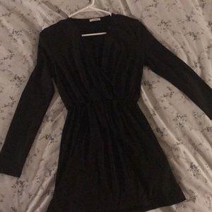 Black mini wrap dress